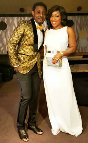 Pics: Actress Rita Dominic Stuns In White As She Poses With Comedian AY At GIAMA Awards