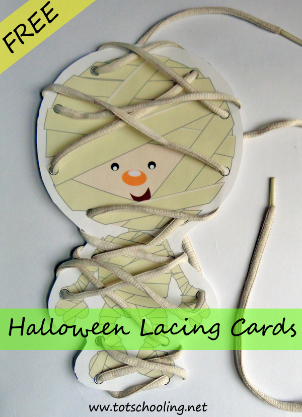 Free Halloween Lacing Cards including a Mummy, Spiders and web, jack-o-lantern, Frankenstein and a bat!