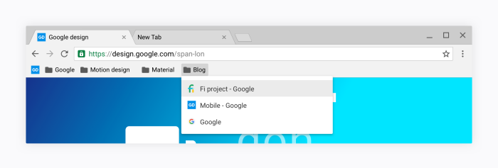 Google Chrome Material Design Bookmark Bar
