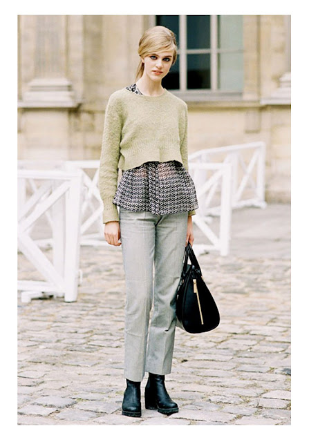 Легкая блузка с укороченным кроп свитером
