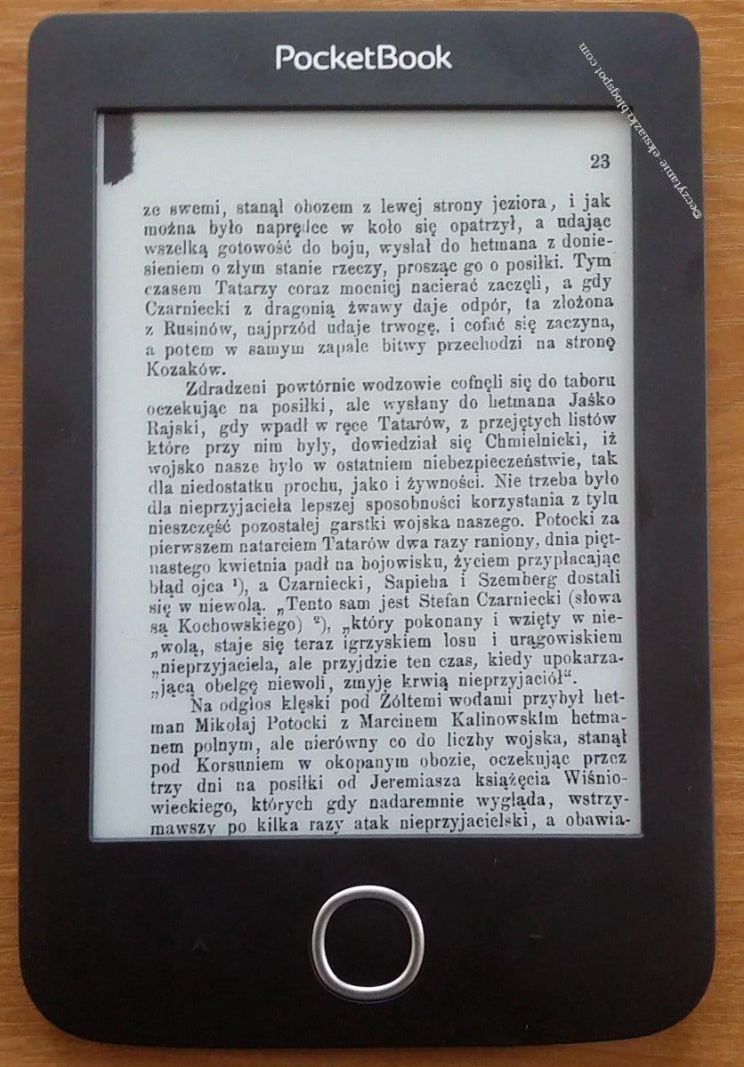 Plik DJVU w trybie kolumnowym na czytniku PocketBook Basic 3