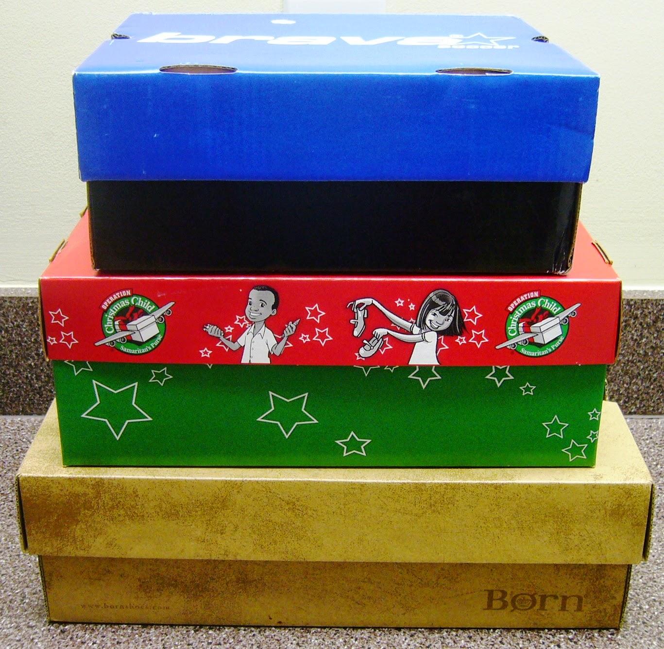 Empty shoe boxes for Operation Christmas Child