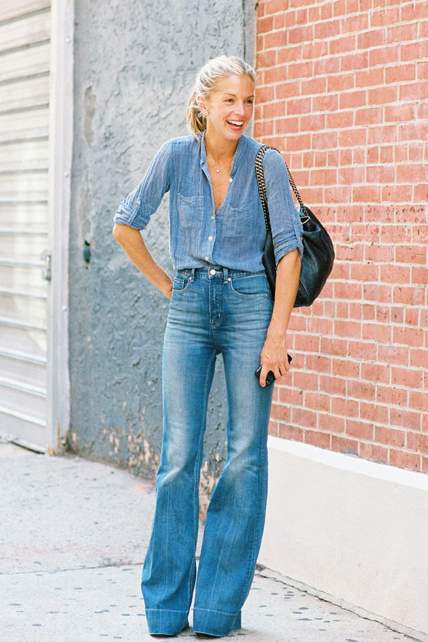 Stylish Denim-On-Denim Spring Outfit Idea: Meredith Melling in a chambray shirt and wide-leg jeans