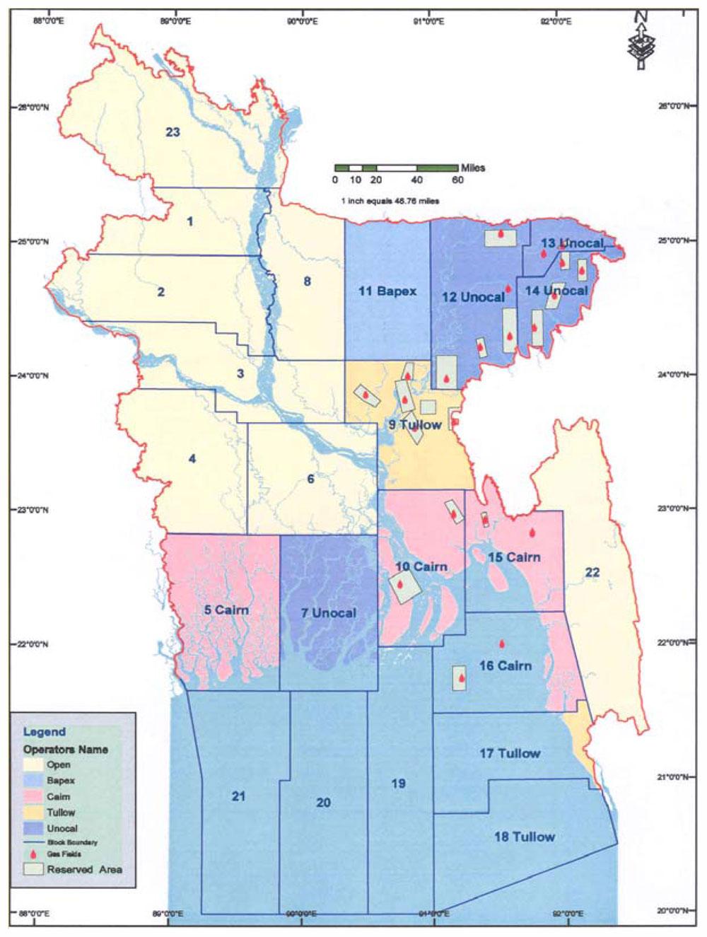 Gas Blocks Map Bangladesh (1989)