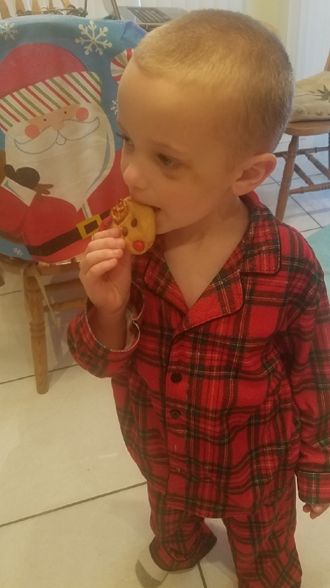 this is a delicious peanut butter cookie that my grandson Antonio and I made for the Christmas holiday shaped into reindeer