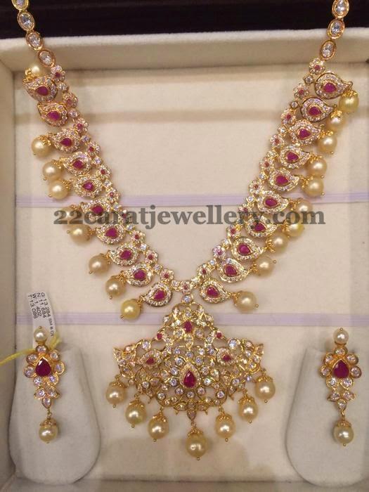 80 Gms Cz Ruby Set Jewellery Designs