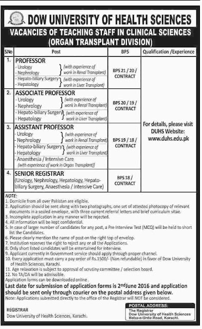 Medical Faculty required at Dow University of Health Sciences