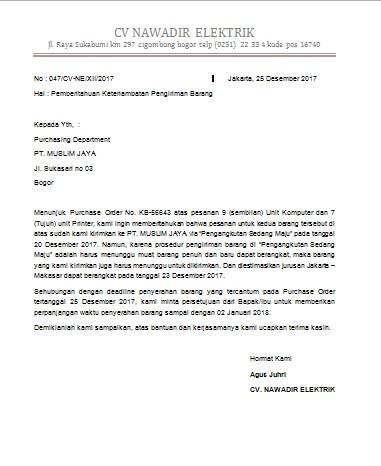 Contoh Surat Niaga Surat Untuk Keperluan Niaga Perusahaan