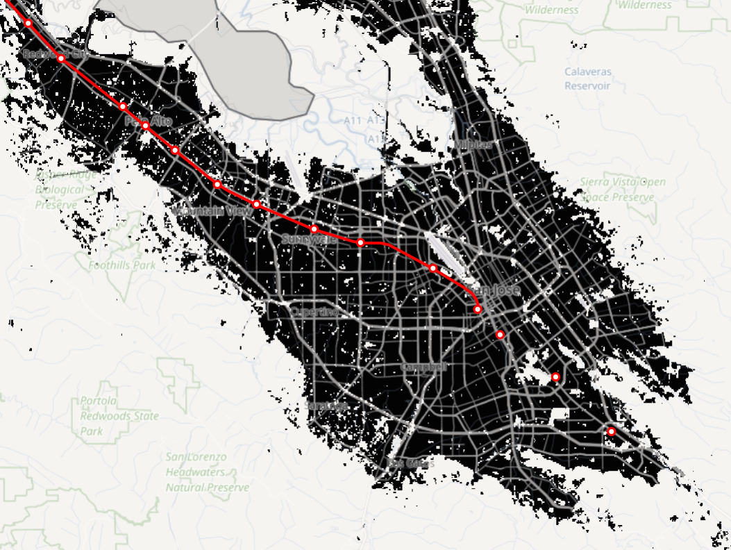 Built up areas shown in black on a
