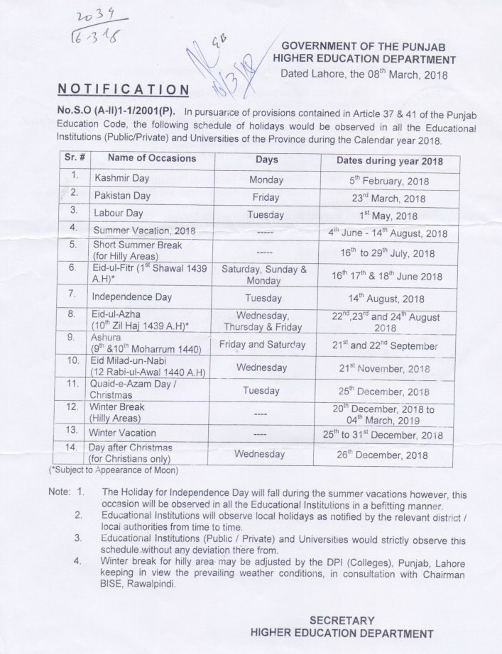 Download Notification of Winter Vacation 2018 in Punjab Colleges from 25 December to 31 December 2018