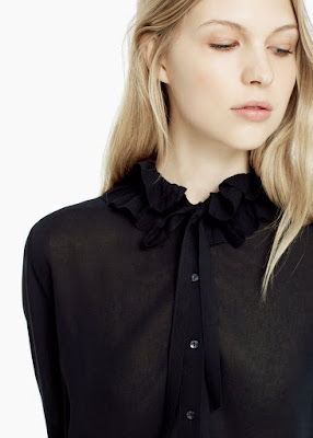 Mango Ruffled Neck Blouse