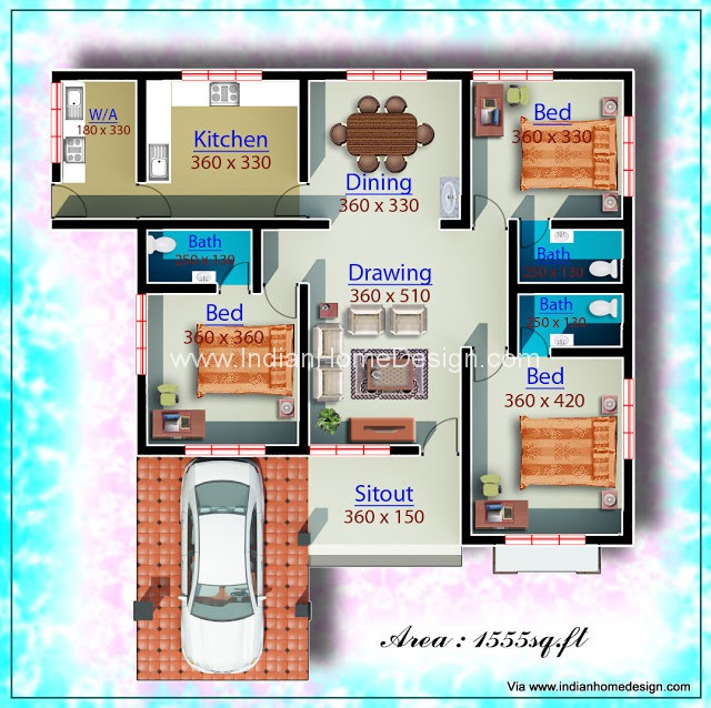 Low Cost Design Idea For A 1960 Sq Ft Single Floor Home