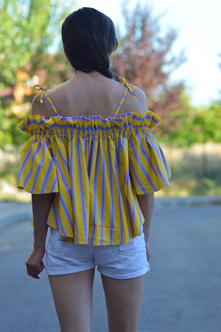Skinny Buddha Jaunty Stripe Cold-shoulder Top in Yellow