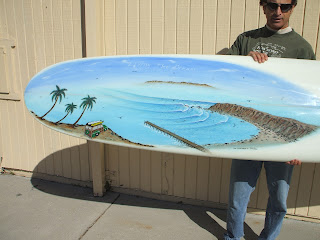 Dana Point painting and surfboard by Paul Carter