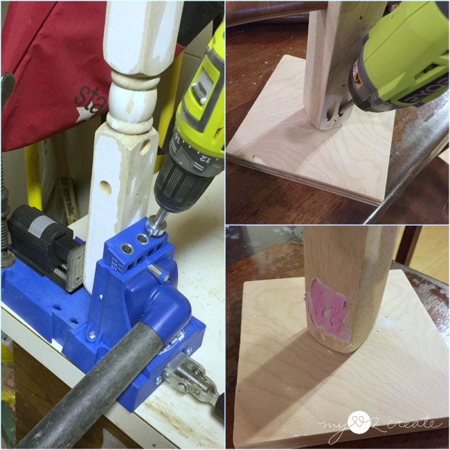 drilling pocket holes to attach crib piece to base holder out of scrap plywood