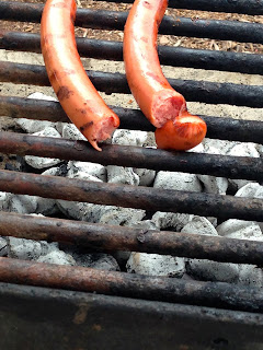 Grilling hotdogs in Key Largo, Florida