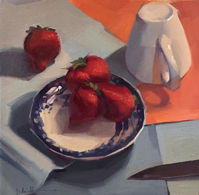 strawberry art oil painting still life