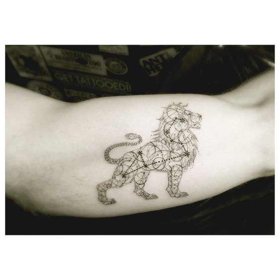 Leo constellation tattoo on arm