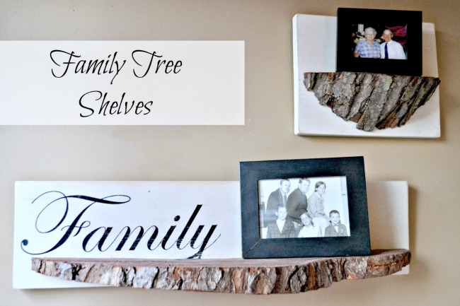 DIY Repurposed Tree Slice Bark Shelves
