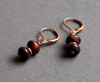 Red Tiger Eye Copper Drop Earrings