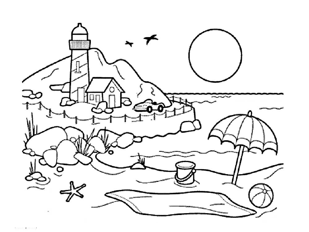 Gambar Mewarnai Pemandangan Pantai