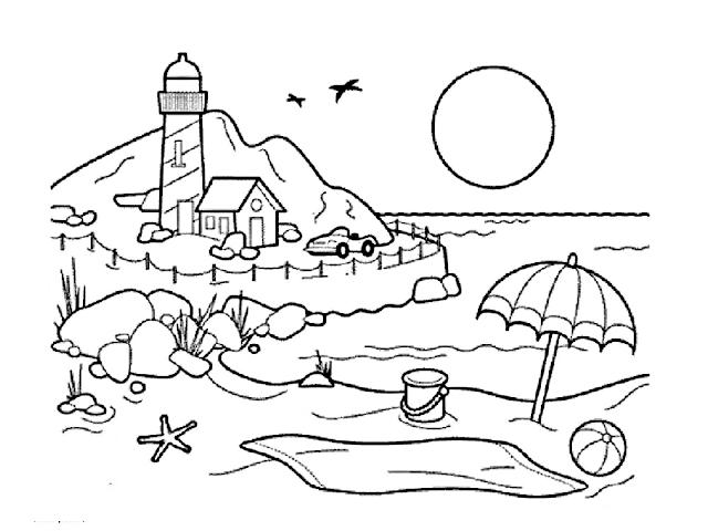 Gambar Mewarnai Pemandangan Pantai - 8