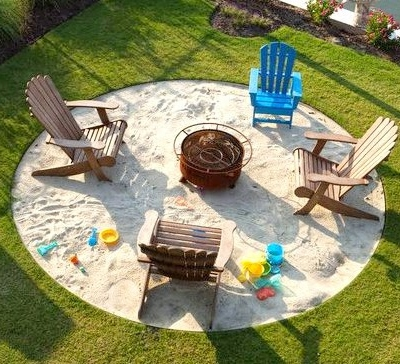 Beach Bonfire Backyard Landscaping Design Idea