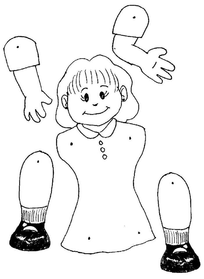 marioneta niña colorear