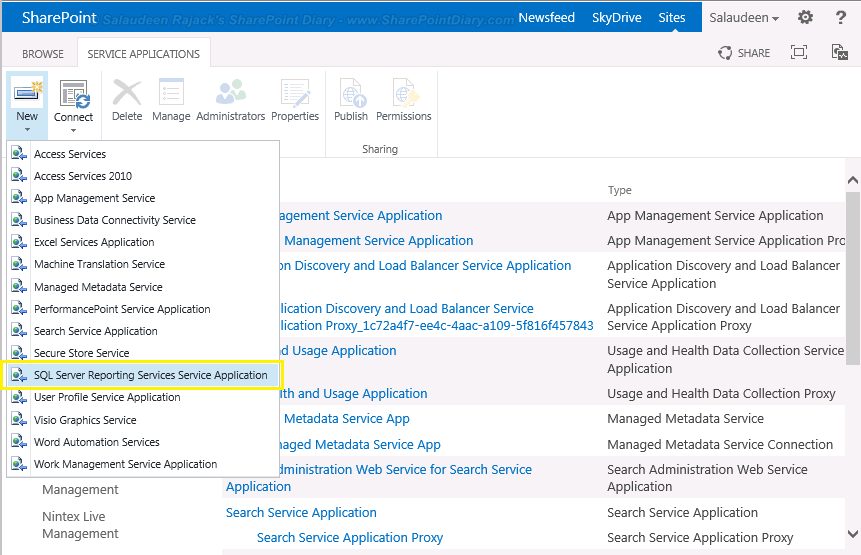 Create New SSRS 2013 Service Application