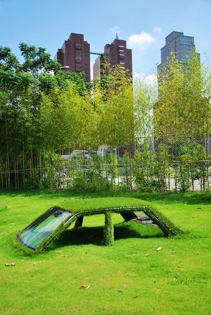 Este carro em Taiwan, China é claramente coberto por grama