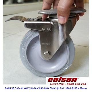 Bánh xe đẩy có khóa cao su càng inox 304 Colson | 2-5456-444-BRK4 www.banhxedayhang.net