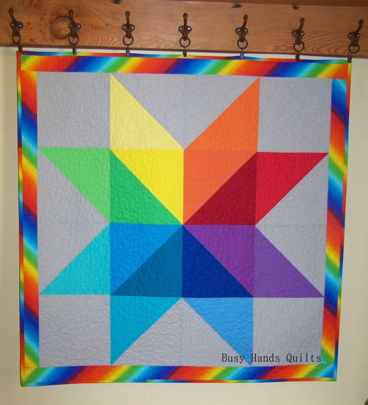 Busy Hands Quilts Custom Rainbow Star Baby Quilt A