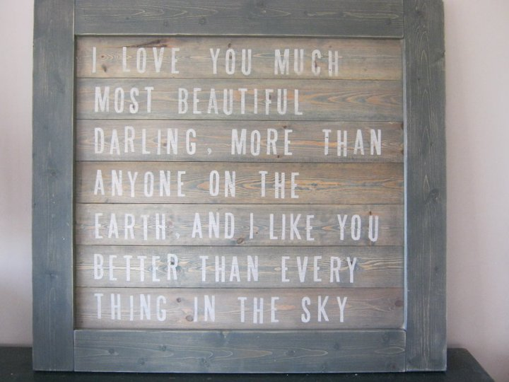 Vintage Wooden Wall Art I Love You Much Most Beautiful Darling