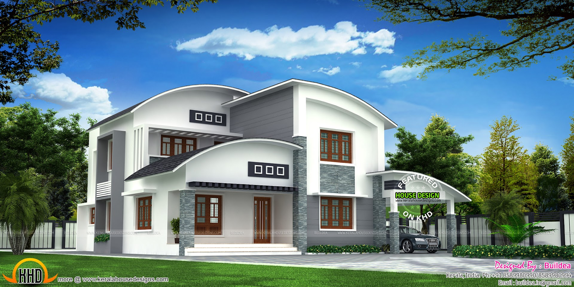 4 bedroom beautiful modern curved roof house kerala home for Curved roof house plans