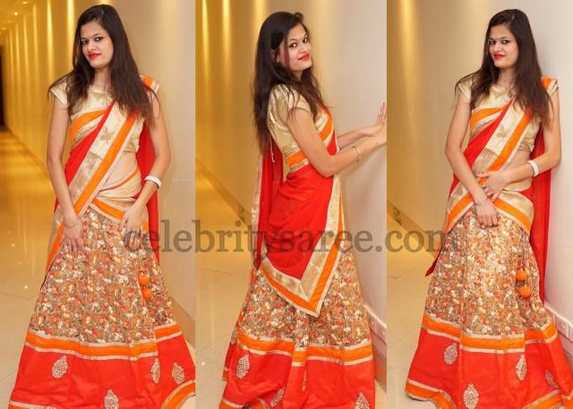 Gold Floral Print Half Saree