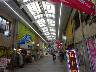 岡山の奉還町のアーケード