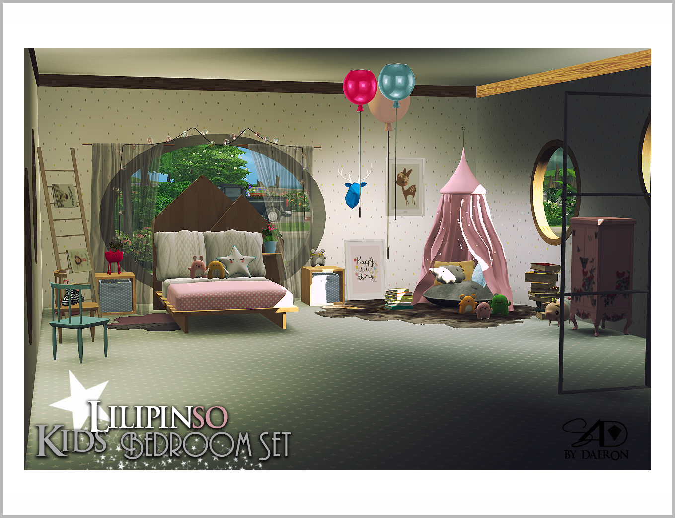 My sims 4 blog lilipinso kids bedroom set new meshes by for Room decor sims 4