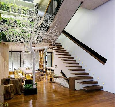 các bậc thang gỗ toàn khối sau khi hoan thiện sử dụng