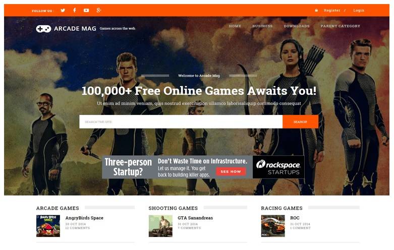 Arcade Mag Online Games Blogger Template Free Download