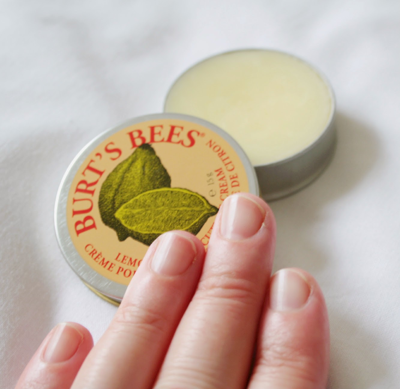 Burt's Bees Lemon Butter Cuticle Cream is honestly the best cuticle cream I've ever used with the added bonus of a fresh lemony scent!
