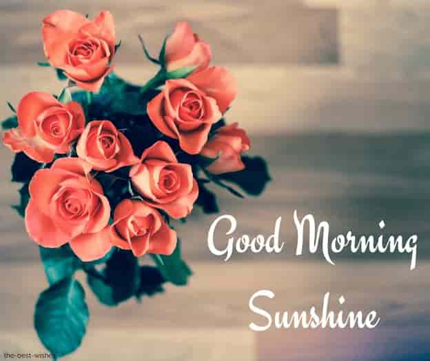 good morning sunshine greetings with bouquet