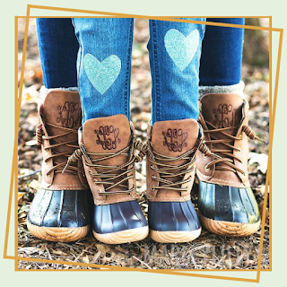 The sweetest Monograms for the whole family! Check out these mommy and me tops and duck boots that will look so cute on you and your mini!