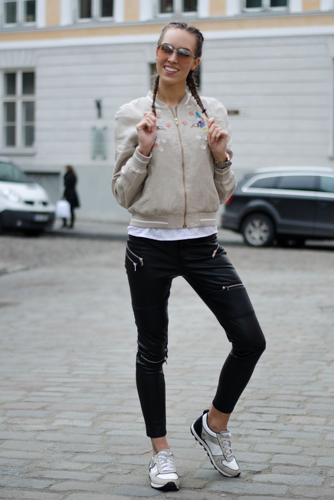 kristjaana mere embellished bomber jacket leather pants minimalist spring outfit