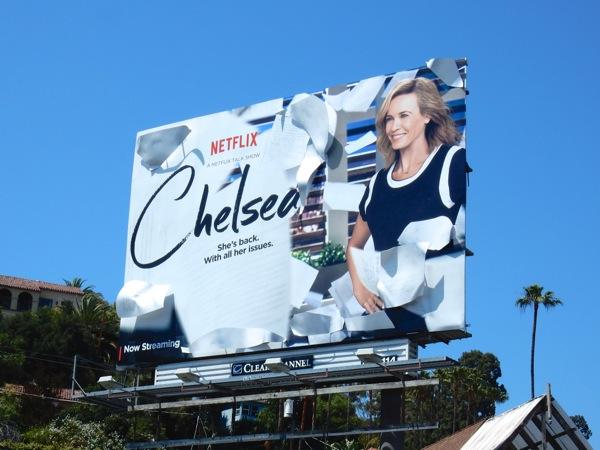 Chelsea Netflix talk show 3D billboard