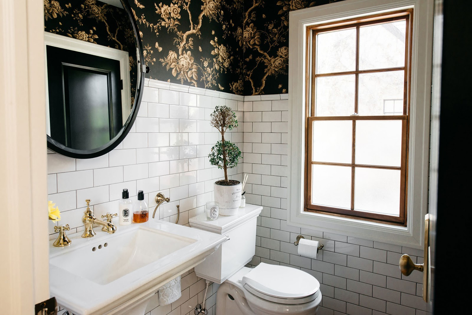 Great Renovations Kyong S Black Floral Bathroom