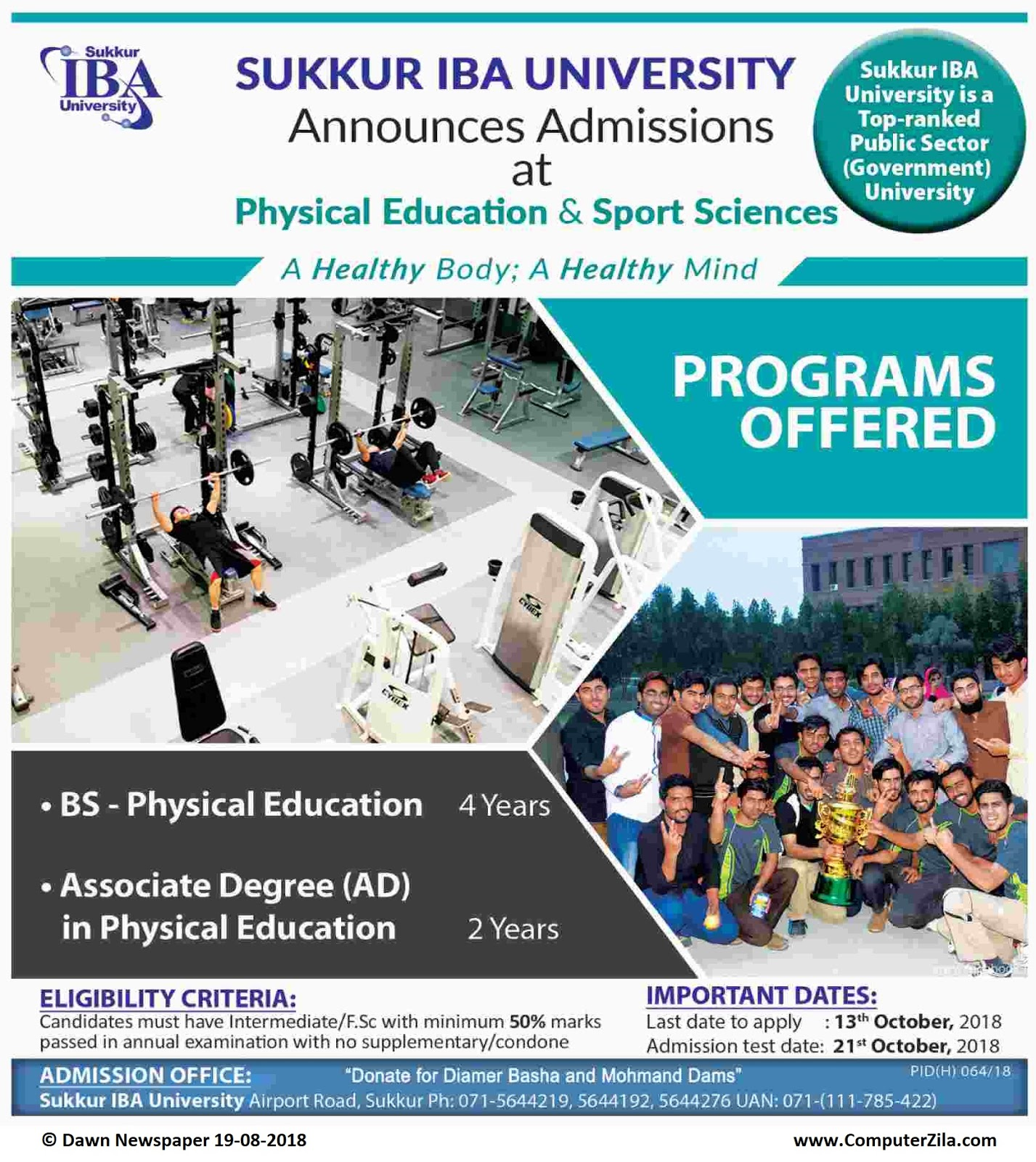 Admissions Open For Fall 2018 At SUKIBA Sukkur Campus