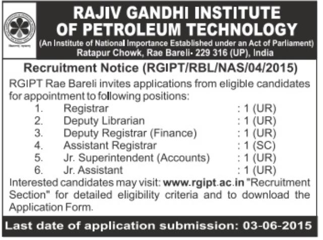 RGIPT Recruitment 2015 Not Teaching Posts