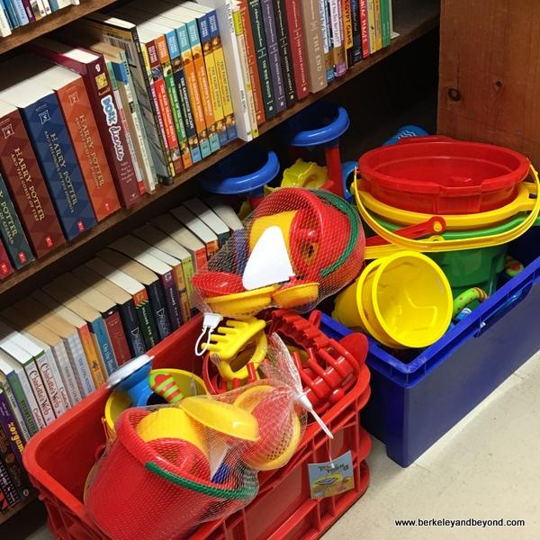 beach toys for sale at Stinson Beach Books in Stinson Beach, California