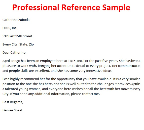 Letters Of Reference October 2012 Professional Reference Letter