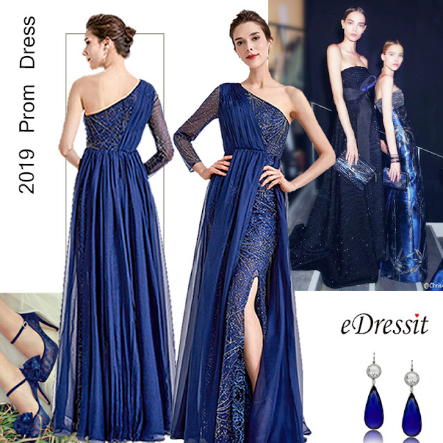 New Blue one Sleeve Sparkle Prom Evening Dress